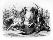 Richard III at the Battle of Bosworth in 1485 by English School
