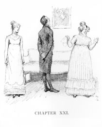 Scene from 'Pride and Prejudice' by Jane Austen by Hugh Thomson