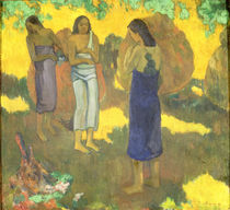 Three Tahitian Women against a Yellow Background von Paul Gauguin