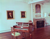View of a room with a grand piano belonging to Ludwig van Beethoven by German School