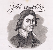 Portrait of John Winthrop from 'Connecticut Historical Collections' von American School