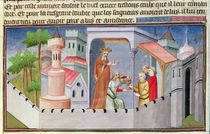 Ms Fr 2810 f.17, Hassan i Sabbah leading the initiations at Alamut giving his followers drugged wine by Boucicaut Master