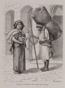 Mexican Tortillera and Straw Mat Seller von Etienne Ronjat