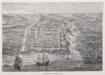 Old Santo Domingo City at the time of Drake's expedition by English School