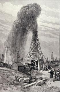 The Petroleum Oil Wells at Baku on the Caspian: A Fountain of Petroleum Oil von English School