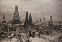 The Petroleum Oil Wells at Baku on the Caspian Sea by English School