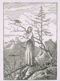 Woman with a Raven, on the Edge of a Precipice von Caspar David Friedrich