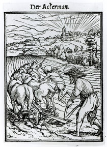 Death and the Ploughman, from 'The Dance of Death von Hans Holbein the Younger