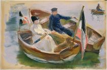 Two Boats with Flags, Wannsee von Max Liebermann