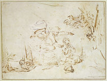 The Angel Appears to Hagar and Ishmael in the Wilderness by Rembrandt Harmenszoon van Rijn