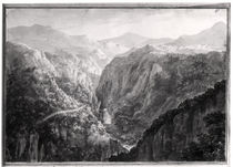 Scene from the Inn at Devil's Bridge with the Fall of the Rhydal by Amos and Green, Harriet Green