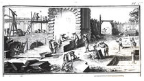 Stonemasons at work, engraved by Lucotte by Prevost