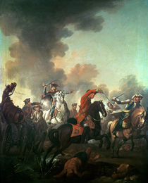 Thomas Brown at the Battle of Dettingen by English School