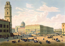 The Catholic Church and Mikhailovskaya Street in St. Petersburg by French School
