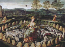 St. Genevieve Guarding her Flock by Fontainebleau School