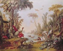 Lake with geese, storks, parrots and herons by Francois Boucher