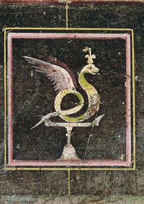 A Winged Serpent, detail from a tablinum decorated with egyptian style paintings by Roman