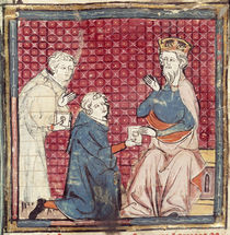 F.117r Messengers telling Charlemagne of the victory over the Saracens by French School