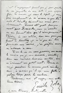 Letter from Zola to Edouard Manet 1868 by Emile Zola