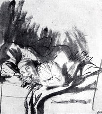 Sick woman in a bed, maybe Saskia von Rembrandt Harmenszoon van Rijn
