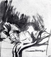 Sick woman in a bed, maybe Saskia von Rembrandt Harmenszoon van Rijn