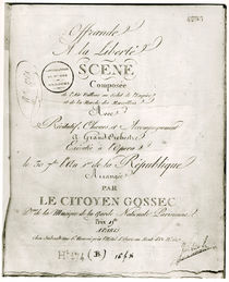 Cover for the score of 'Offrande a la Liberte' arranged by Francois Joseph Gossec and performed at the Opera 30th September An I by French School