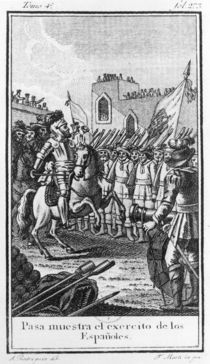Hernando Cortes Reviewing his Troops by F. Marti