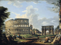 The Colosseum and the Arch of Constantine von Giovanni Paolo Pannini or Panini