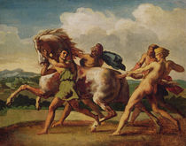 Slaves stopping a horse, study for 'The Race of the Barbarian Horses' by Theodore Gericault
