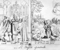 Caricature depicting a Spiritual Dispute between Pope Leo X Martin Luther and John Calvin 1838 by French School