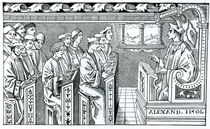 Interior of a School, illustration from 'Science and Literature in the Middle Ages and the Renaissance' by English School