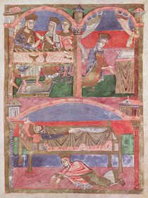 Ms 250 f.24r St. Radegund at the table of Clothar I by French School