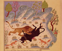 A Lion Attacking and Killing a Bull by Persian School