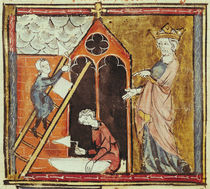 F.235v King Louis VI Watching the Construction of a Church by French School