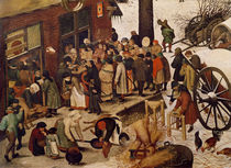 The Census at Bethlehem, detail of census office by Pieter the Elder Bruegel
