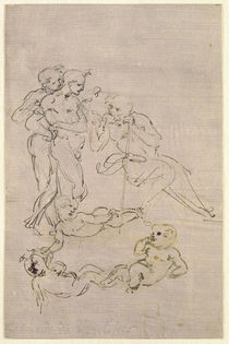 Figural Study for the Adoration of the Magi by Leonardo Da Vinci