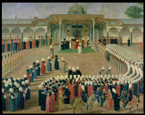 Reception at the Court of Sultan Selim III at the Topkapi Palace by Ottoman School
