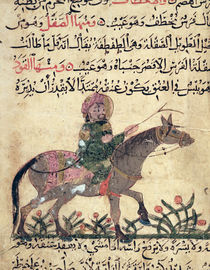 Horse and rider, illustration from the 'Book of Farriery' by Ahmed ibn al-Husayn ibn al-Ahnaf by Islamic School