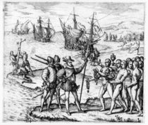 Christopher Columbus receiving gifts from the cacique by Theodore de Bry