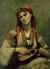 Christine Nilson or The Bohemian with a Mandolin by Jean Baptiste Camille Corot