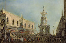 The Doge Watching the Festival of Giovedi Grasso in the Piazzetta di San Marco by Francesco Guardi