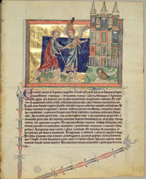 Ms L.A. 139-Lisboa fol.74 An angel showing the New Jerusalem to St. John the Evangelist von English School