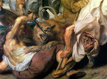 Lion Hunt, detail of two men and a lion by Peter Paul Rubens