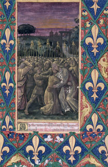 Ms Lat. Q.v.I.126 f.100 The Kiss of Judas by Jean Colombe