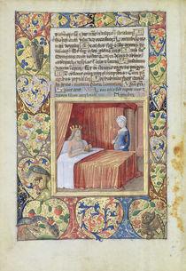 Ms Lat. Q.v.I.126 f.37v A king lying in bed by Jean Colombe