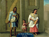 An American Indian Man and his Mixed-Race Wife von Mexican School