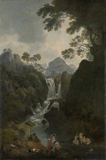 A Waterfall with Bathers, c.1800-17 von Julius Caesar Ibbetson