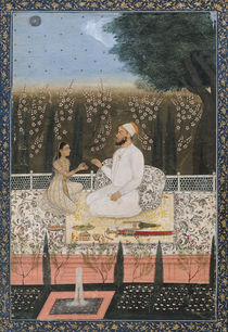 Couple on a Terrace in a Garden von Indian School