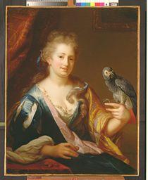 Portrait of a Lady feeding a parrot von Godfried Schalcken