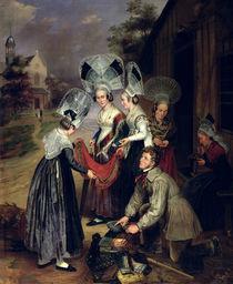 A Peddler Selling Scarves to Women from Troyes von Henri Valton